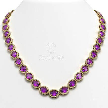 57.07 CTW Amethyst & Diamond Halo Necklace Yellow Gold