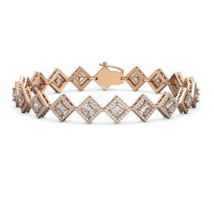 8.46 CTW Princess Cut Diamond Bracelet 18K Rose Gold -