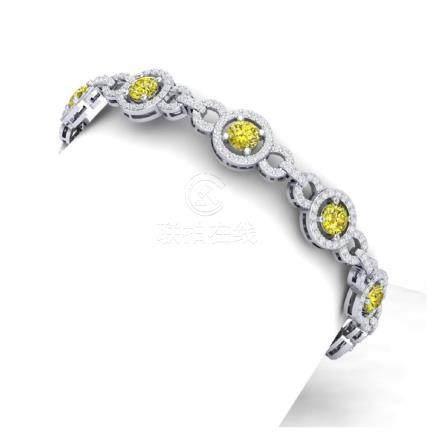 9 CTW Fancy Yellow & White Diamond Bracelet 18K White