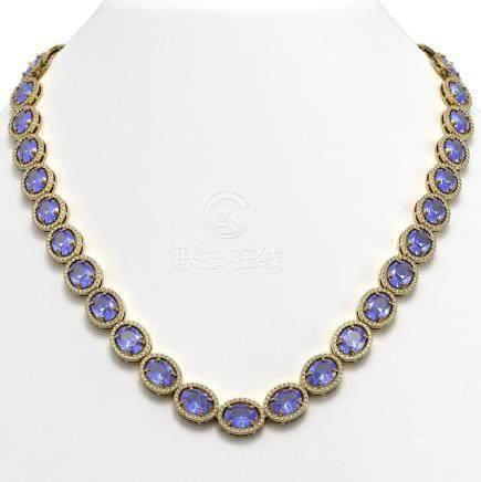 62.99 CTW Tanzanite & Diamond Halo Necklace Yellow Gold