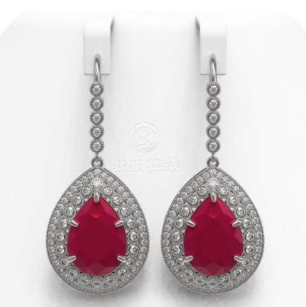 31.74 CTW Ruby & Diamond Victorian Earrings 14K White