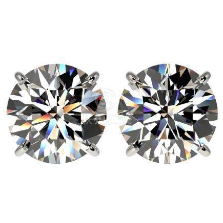 4 CTW H-I Quality Diamond Solitaire Stud Earrings Gold