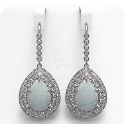 21.54 CTW Opal & Diamond Victorian Earrings 14K White