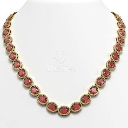 54.48 CTW Tourmaline & Diamond Halo Necklace Yellow