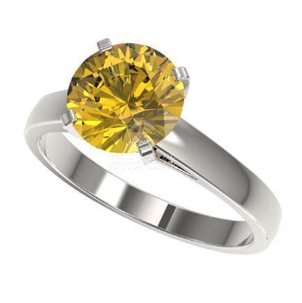 2.50 CTW Intense Yellow SI Diamond Solitaire Ring Gold