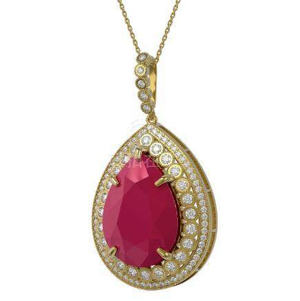 42.84 CTW Ruby & Diamond Victorian Necklace 14K Yellow
