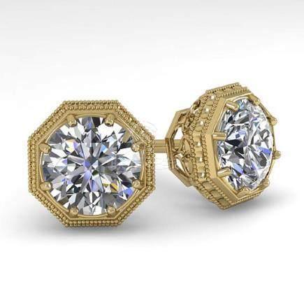 2.05 CTW VS/SI Diamond Stud Earrings 18K Art Deco Gold