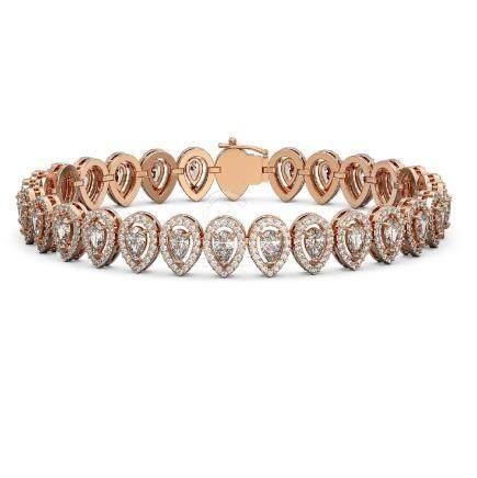 12.2 CTW Pear Diamond Bracelet 18K Rose Gold -