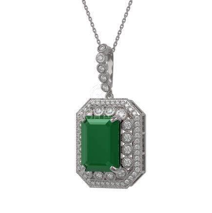 16.46 CTW Emerald & Diamond Necklace 14K White Gold -