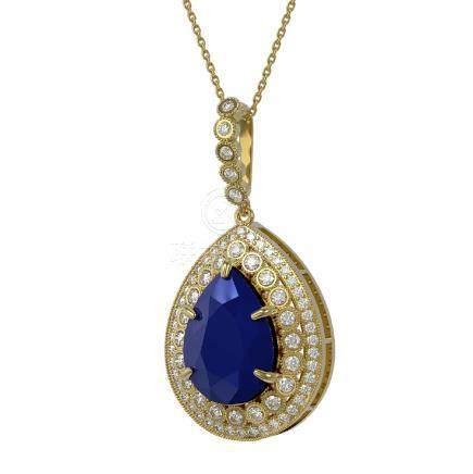 15.87 CTW Sapphire & Diamond Necklace 14K Yellow Gold -