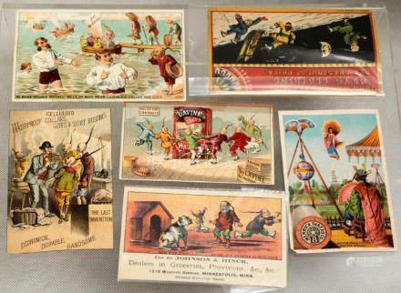 (6) A SET OF SIX COLOR CHINESE RACIST-STEREOTYPE TRADE CARD