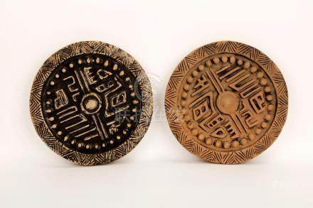 (2) A PAIR OF HAN DYNASTY STYLE EAVES TILES.C474.