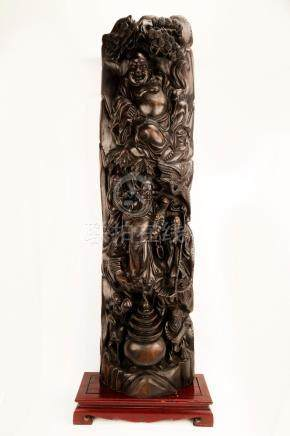 A ZITAN WOOD OR HARDWOOD STATUE CARVED WITH FIGURE OF CHINES
