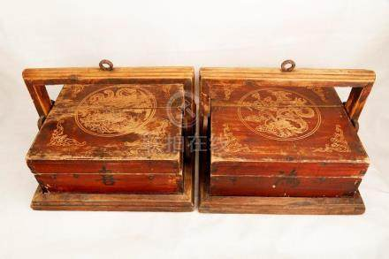 (2) A PAIR OF WOOD CARVED BOXES.M048