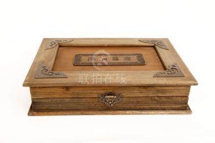 A CAMPHOR WOOD SOUVENIR AND BOX OF CHINESE TSINGHUA UNIVERSI