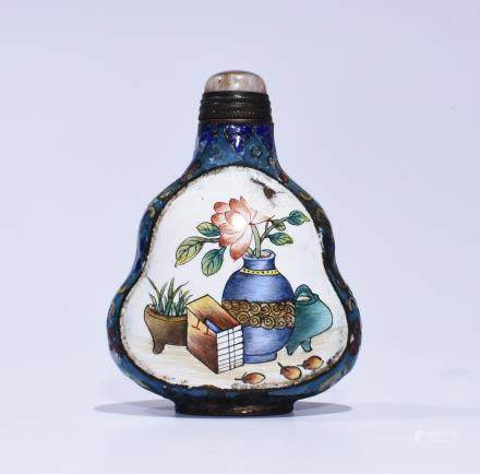 QIANLONG MARK, A GLASS AND ENAMEL SNUFF BOTTLE