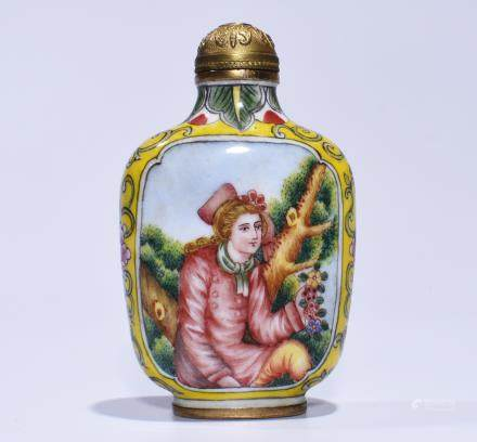 QIANLONG MARK, AN ENAMEL SNUFF BOTTLE