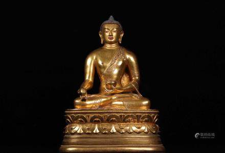 CHINESE TIBET GILT BRONZE BUDDHA STATUE