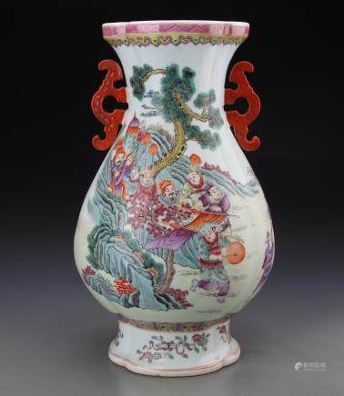 QIANLONG MARK, CHINESE FAMILLE ROSE VASE