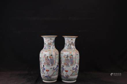 XIANFENG MARK, PAIR OF CHINESE FAMILLE ROSE VASES