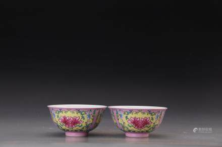 DAOGUANG MARK, PAIR OF CHINESE FAMILLE ROSE BOWLS