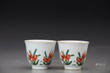 KANGXI MARK,PAIR OF CHINESE FAMILLE ROSE CUPS