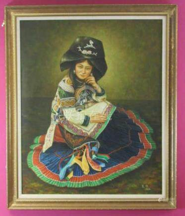 Original Chinese Oil Painting of a Princess