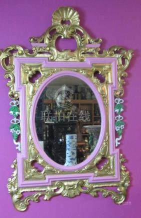 Very Old Mirror Bronze on Wood