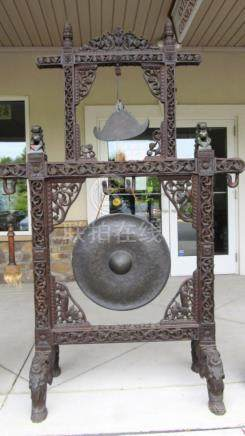Chinese Carved Wood Frame and Gong