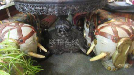 pair 19th Century Qing Dynasty Painted Elephants
