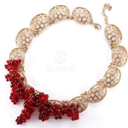 1980s Dior necklace with gold lace links and ruby red cascad