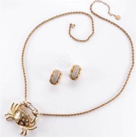 1992 Dior crab pendant necklace with diamante accents, 1975