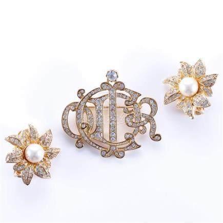1970 Dior gold and diamante monogram pin, 1995 Dior gold and