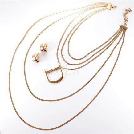 2000 Dior five strand graduating gold necklace with large ce