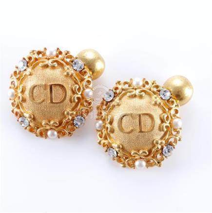 1970s Dior signed gold tone cufflinks with faux pearls and c