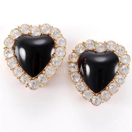 1992 Dior black enamel heart shaped earrings surrounded with