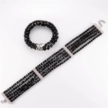 1998 Dior large faceted black bead 5-strand necklace and bla