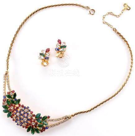 1994 Dior gold tone necklace with jewel tone cluster and 199