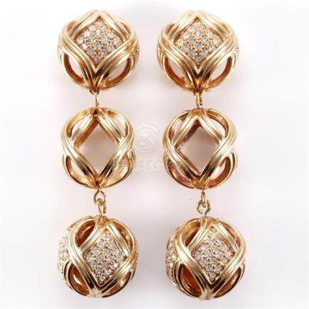 1991 Dior gold and diamante three cage drop earrings.