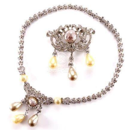 1950s unsigned Dior pave diamante necklace and pin with cent