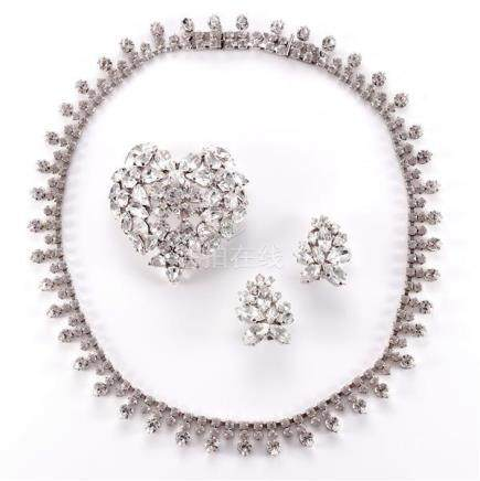 1995 Dior diamante heart shaped pin, 1990s Dior diamante ear