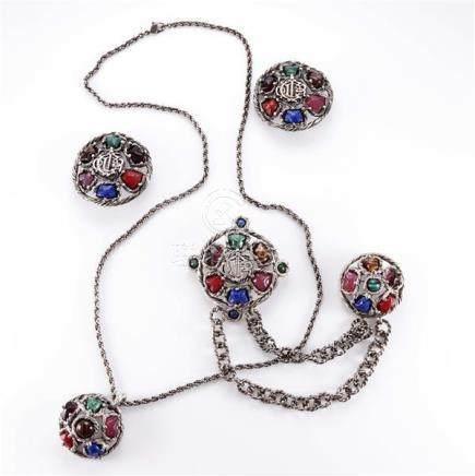 1980s Dior four piece silver tone parure including necklace,