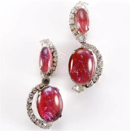 Robert Sorrell drop earrings with opalescent pink cabochons
