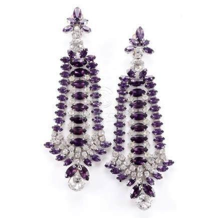 Robert Sorrell huge shoulder-duster purple and diamante earr
