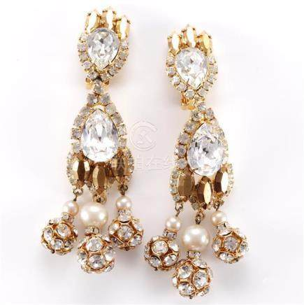 Robert Sorrell gold tone earrings with diamante and amber co