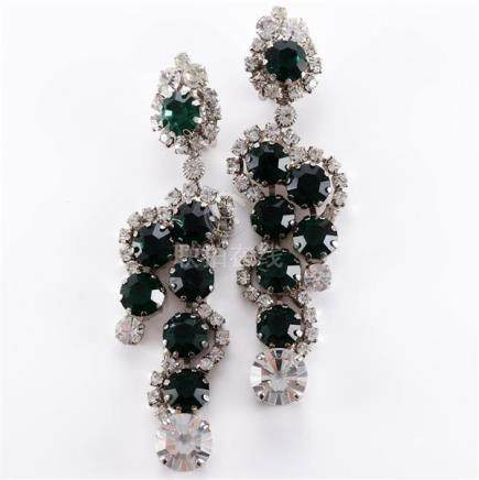 Robert Sorrell emerald color crystal and diamante drop earri