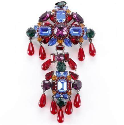 Timothy Szlyk contemporary multi-colored crystal two-tiered