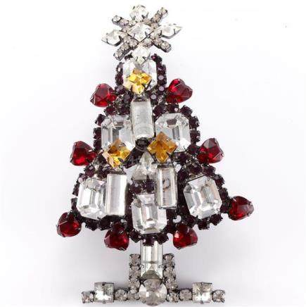 Lawrence Vrba Christmas tree pin with red and amber color fa