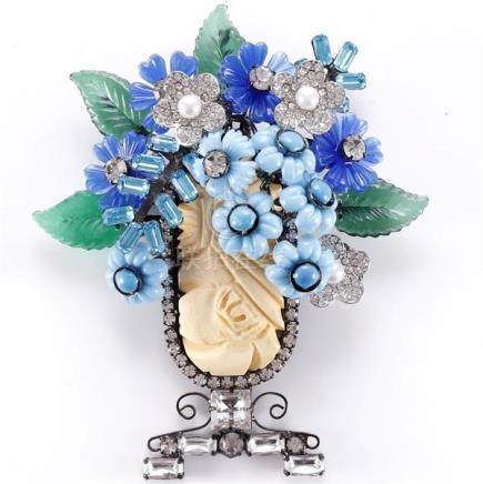 Lawrence Vrba pin brooch with blue toned molded glass and pa