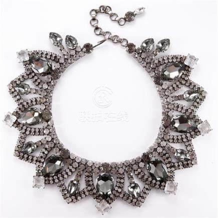 Alan Anderson elaborate clear and smoky crystal collar neckl